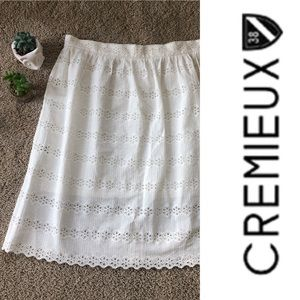 Cremieux cream eyelet lace skirt